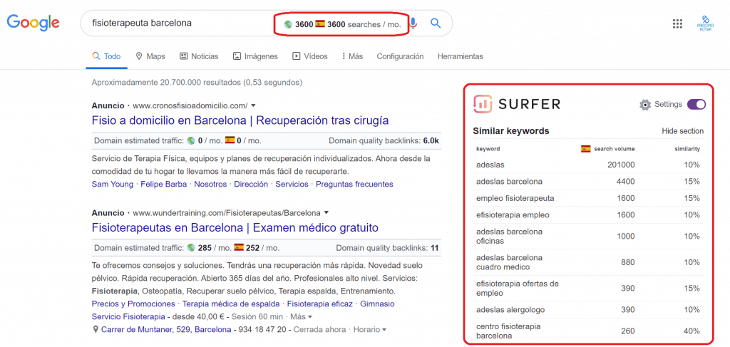 keyword surfer extension navegador buscar palabras clave keywords seo